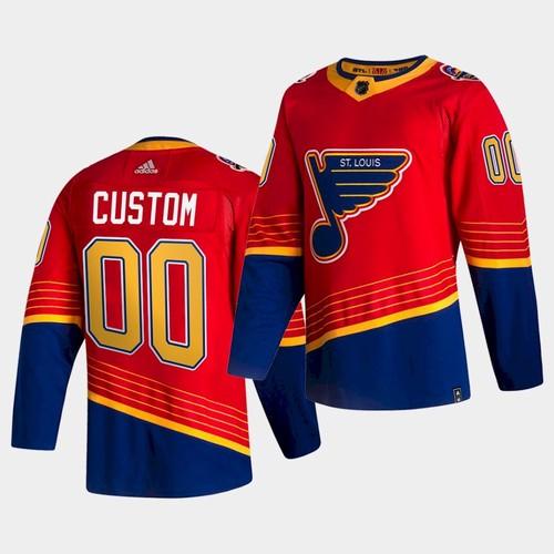 Men's St. Louis Blues Custom Red 2020-21 Reverse Retro Jersey