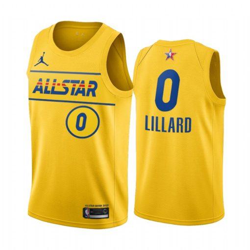 2021 All-Star #0 Damian Lillard Gold Western Conference Jersey Blazers