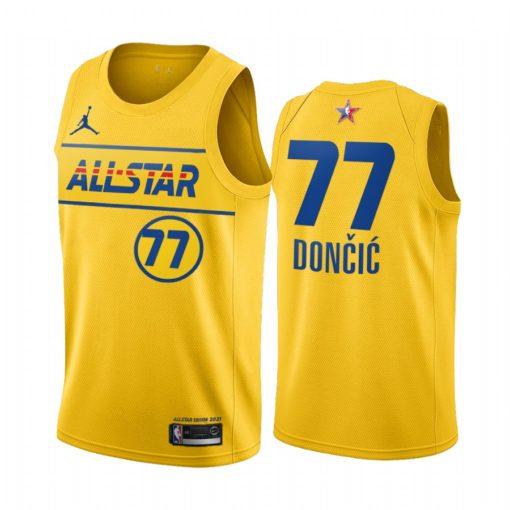 2021 All-Star #77 Luka Doncic Gold Western Conference Jersey Mavericks