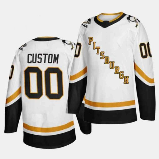 Pittsburgh Penguins White 2020-21 Reverse Retro Custom Jersey