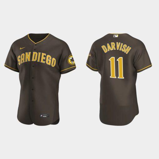 Yu Darvish #11 San Diego Padres Alternate 2020 Brown Jersey